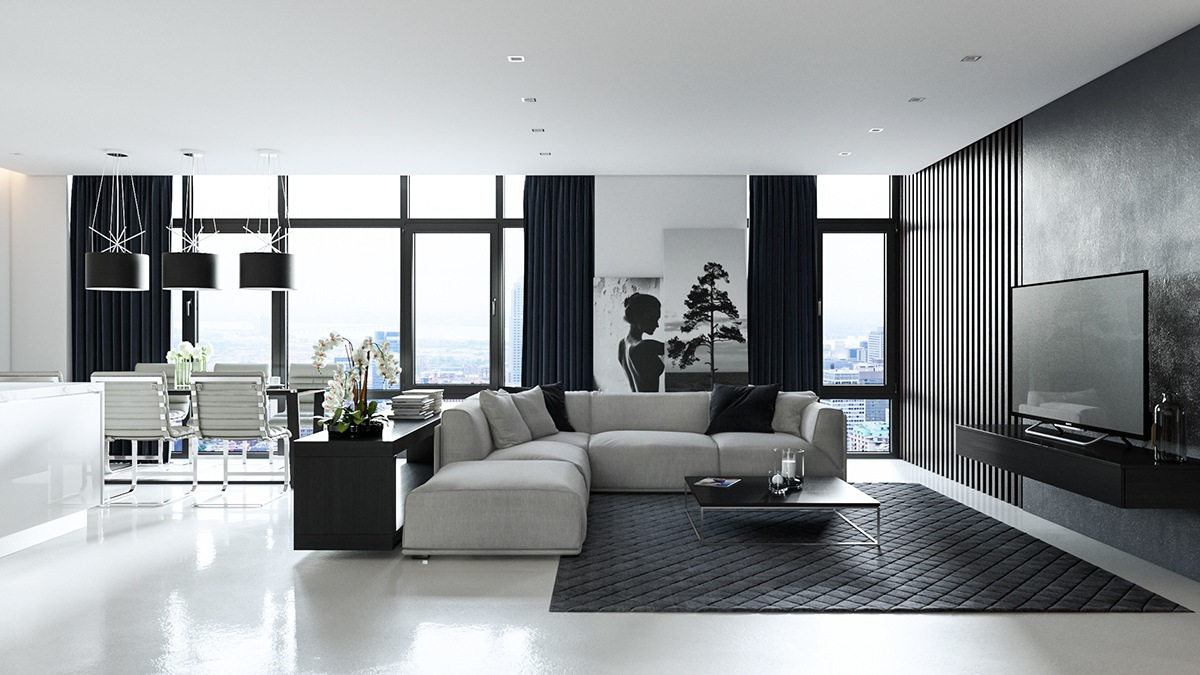 black-and-white-decorating-ideas-big-black-floor-mat-black-curtains