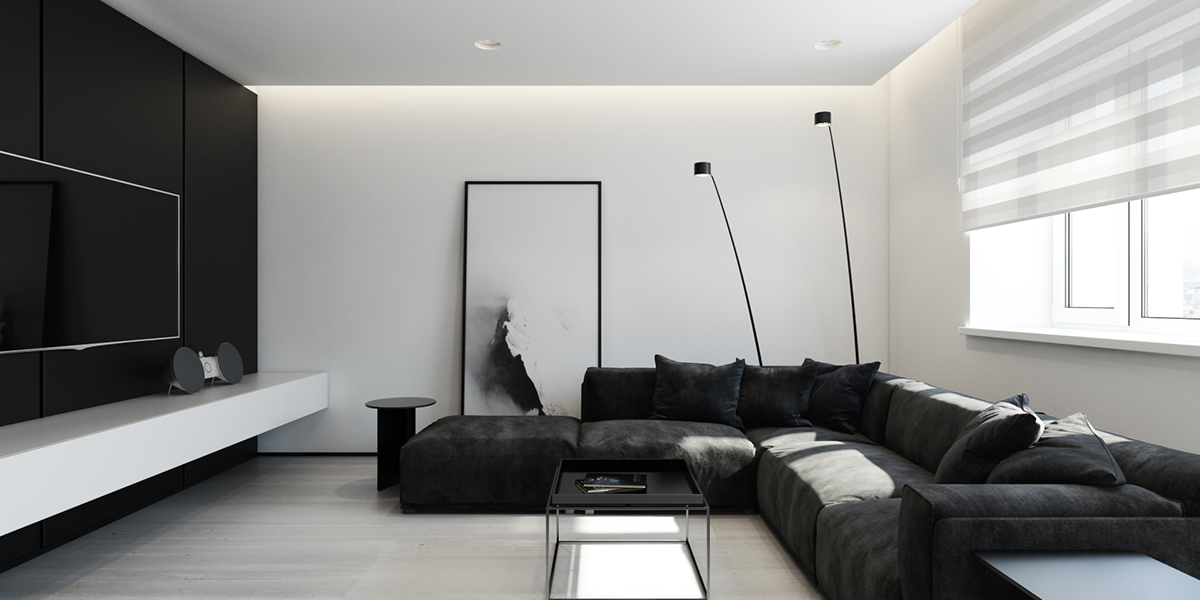 black-and-white-interior-design-L-shaped-couch-simple-white-shades