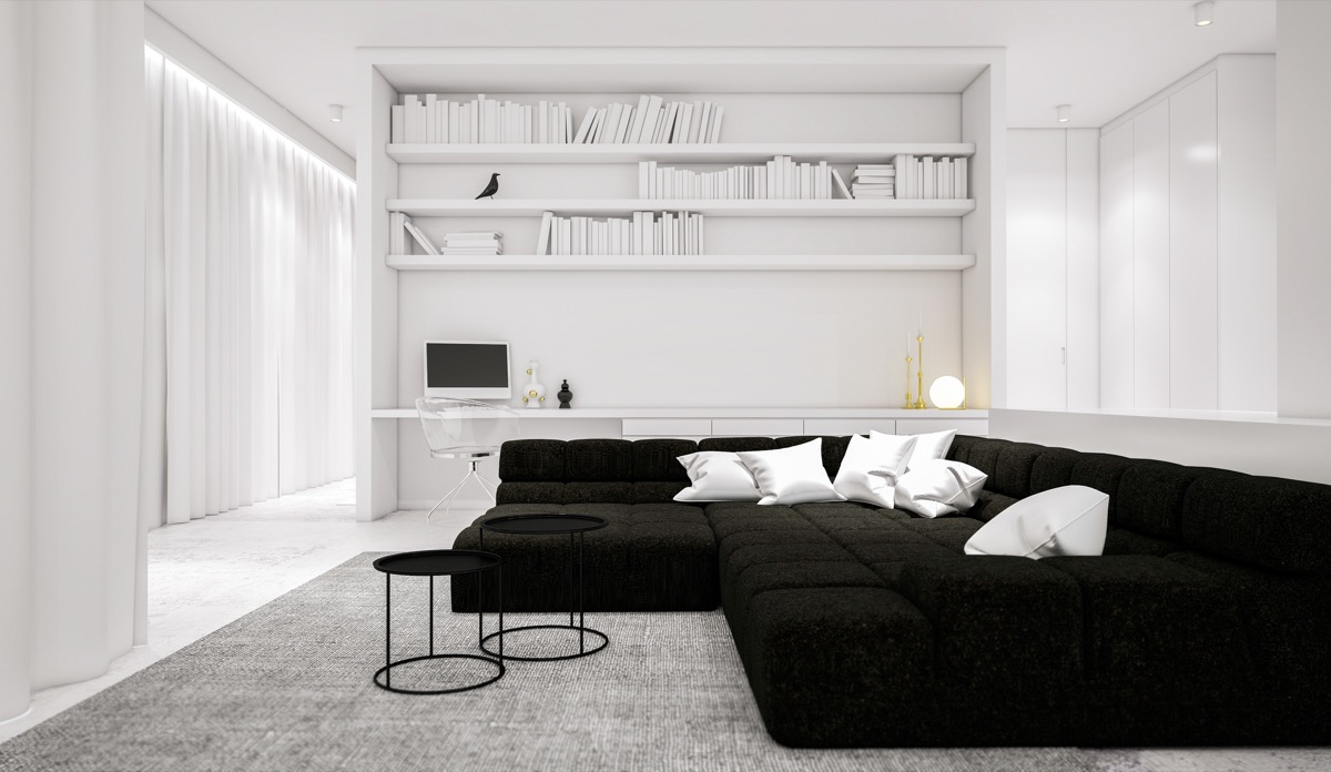 black-furniture-living-room-ideas-large-bookshelf-desk-study-area-round-end-tables-large-seating-area