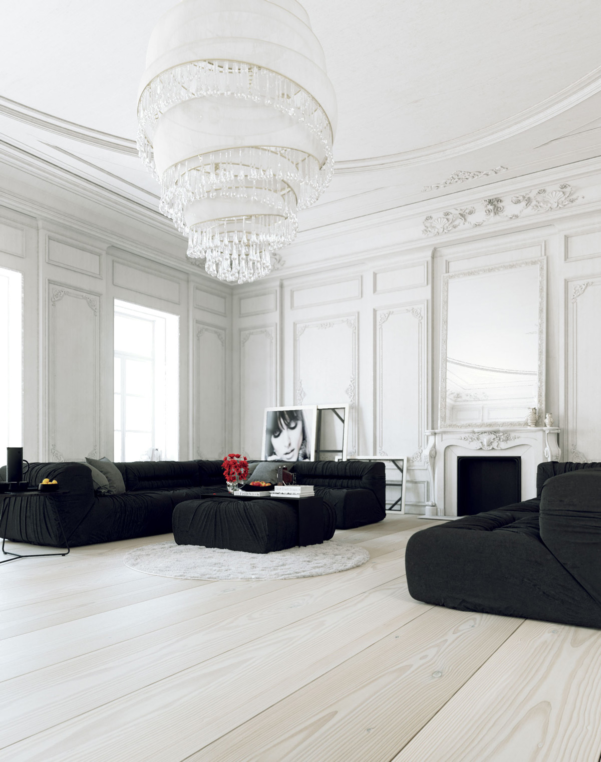 black-living-room-furniture-large-chandelier-model-portrait-large-mirror-fireplace-white-wooden-floors-roses