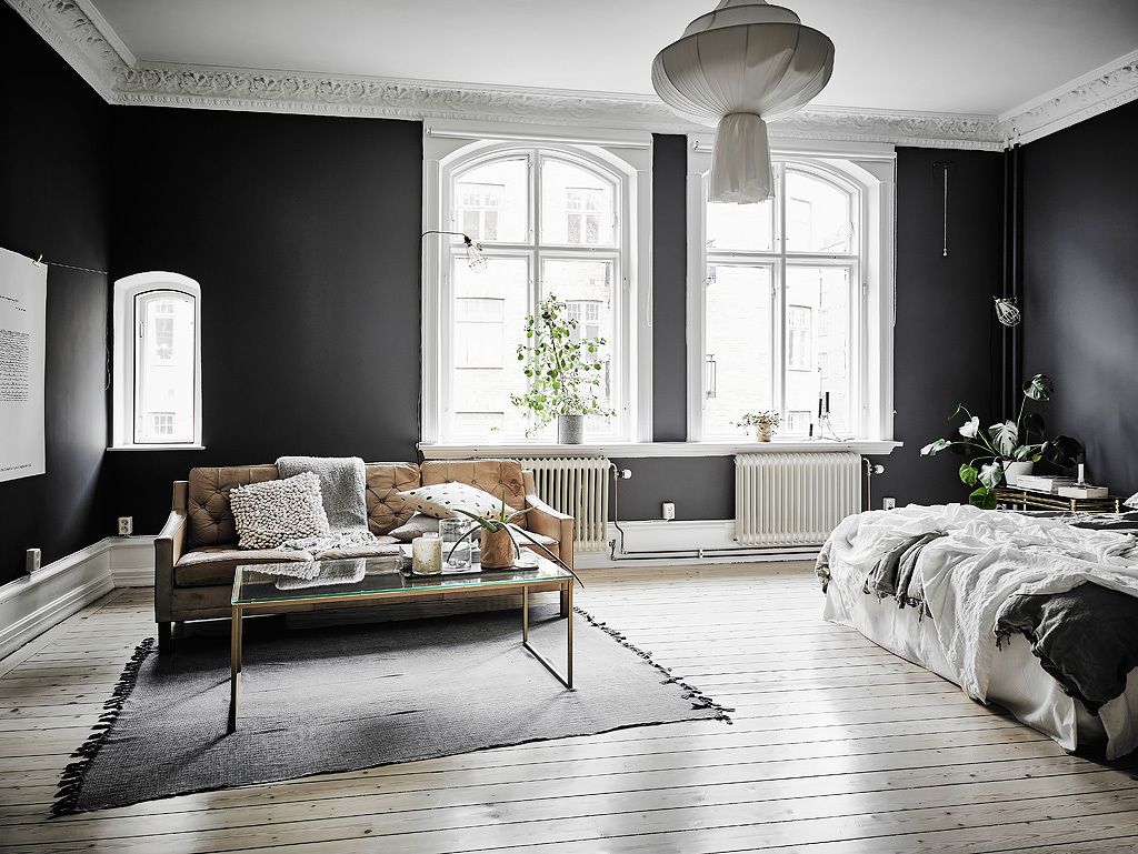 black-walls-white-fixtures-monochrome-living-space-white-chandelier-wood-bench-cushions-glass-coffee-table-indoor-plants-bed-grey-rug