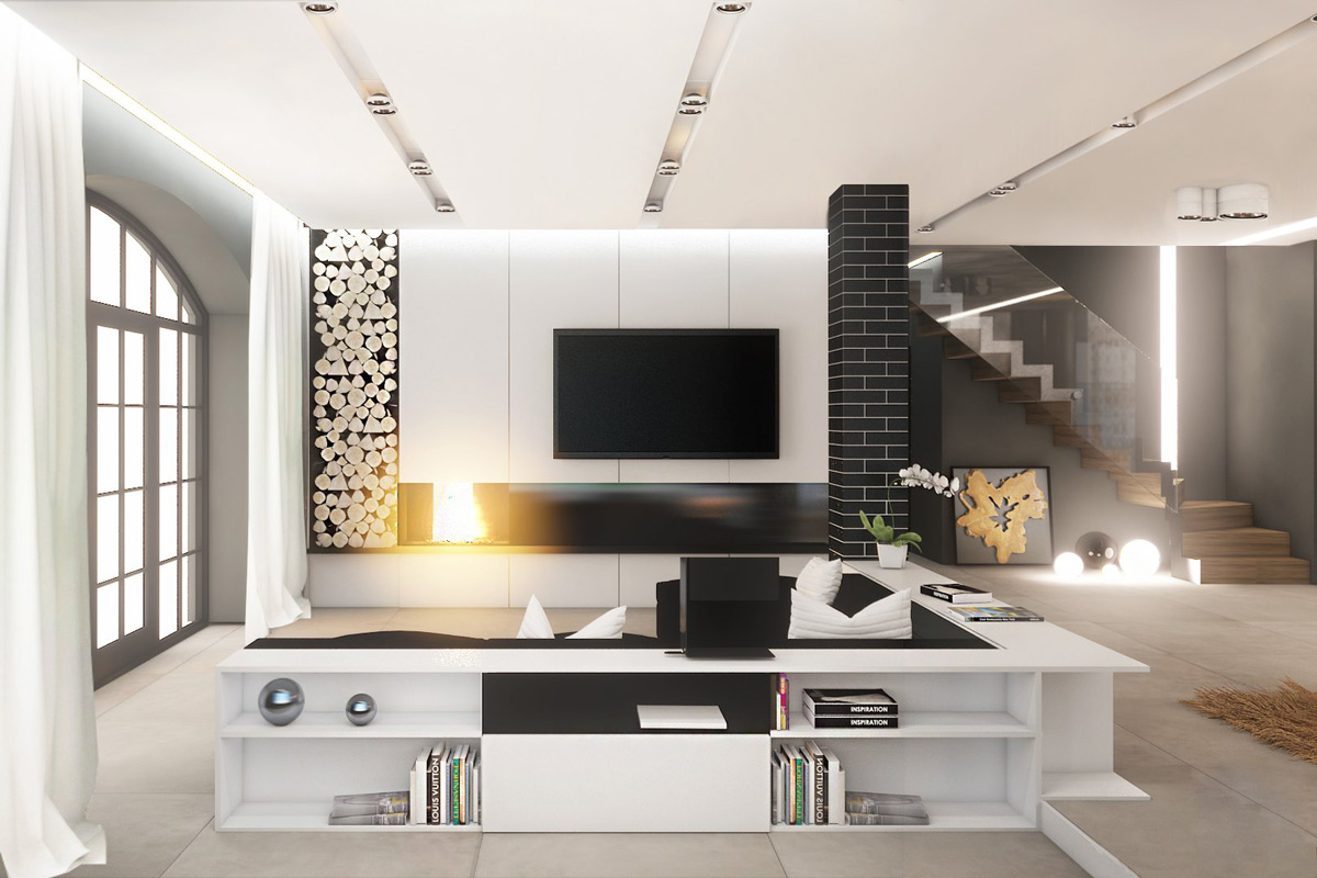 black-white-living-room-sphere-decor-wrap-around-bookshelf-couches-staircase-stacked-firewood-flower-decor-panneling-tv