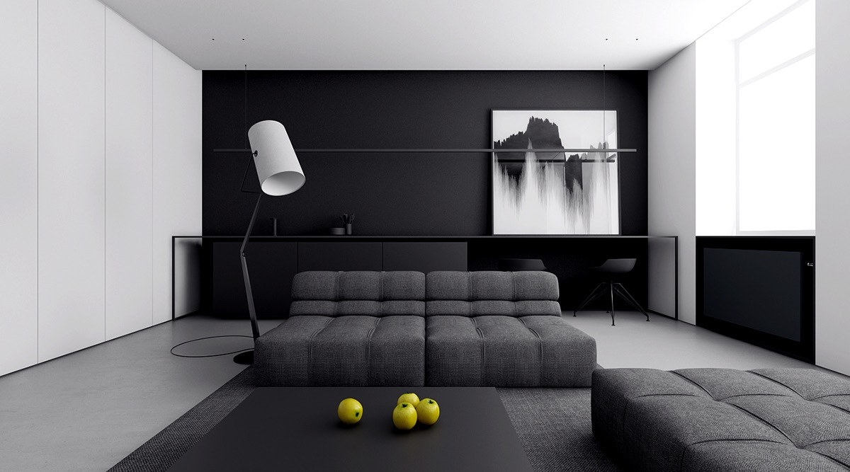 minimalist-Italian-living-room-quilted-futons-cameraman-light-floor-lamp-study-area-ottoman-black-coffee-table-abstract-wall-art-lemons