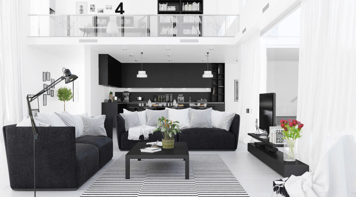 modern-black-white-living-room-red-accent-floor-lamp-black-couches-coffee-table-frames-open-upstairs-area-tv-roses